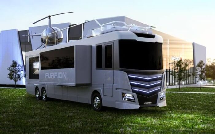 Furrion Elysium camping car de luxe garage helicopter